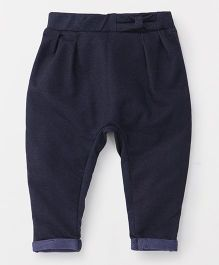 Fox Baby Full Length Pants Bow Applique - Navy Blue
