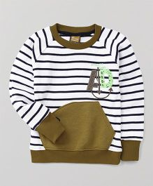 Little Kangaroos Round Neck Pullovers Style Sweater - Olive Green White