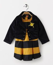 Little Kangaroos Sleeveless Striped Party Frock With Shrug - Yellow & Black