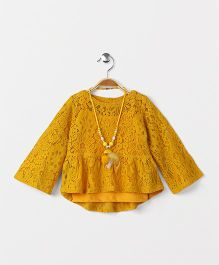 Little Kangaroos Party Wear Top With Inner & Necklace - Mustard Yellow