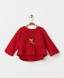 Little Kangaroos Party Wear Top With Inner & Necklace - Red