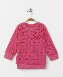 Little Kangaroos Full Sleeves Top Cut Work Pattern - Pink