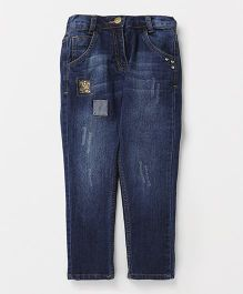 Little Kangaroos Full Length With Sequin Patch Jeans - Dark Blue