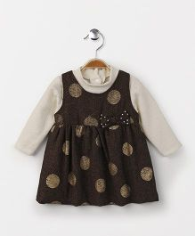 Little Kangaroos Party Wear Polka Dot Frock With Inner Top Bow Applique - Brown Off White