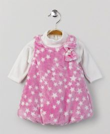 Little Kangaroos Winter Wear Frock With Inner Top - Pink