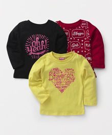 Little Kangaroos Full Sleeves Printed Tops Pack of 3 - Yellow Red Black