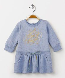 Little Kangaroos Full Sleeves Winter Wear Frock Magic Print - Sky Blue