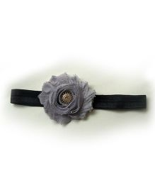 Pink Velvetz Shabby Chic Flower Headband - Grey