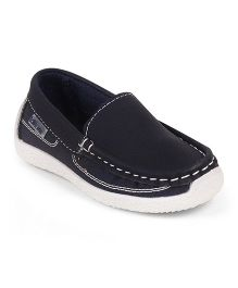 Kittens Stitch Detailing Loafer Shoes - Navy