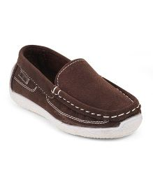 Kittens Stitch Detailing Loafer Shoes - Brown