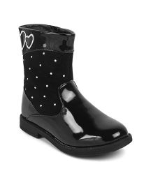 Kittens Shoes High Ankle Heart Embroidered Boots - Black