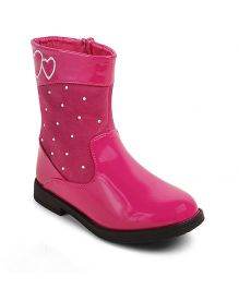 Kittens Shoes High Ankle Heart Embroidered Boots - Fuchsia