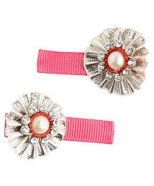 NeedyBee Hand Crafted Detailed Snap Clips Pack of 2 - Pink Silver