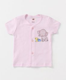 Zero Half Sleeves Vest Elephant & Book Print - Light Pink