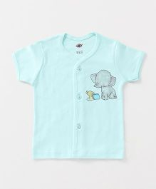 Zero Half Sleeves Vest Elephant & Book Print - Sea Green