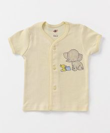 Zero Half Sleeves Vest Elephant & Book Print - Light Yellow
