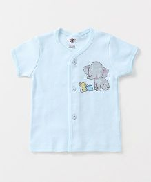 Zero Half Sleeves Vest Elephant & Book Print - Sky Blue