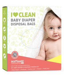 BodyGuard Baby Diapers & Sanitary Disposal Bag 5 Packs - 75 Pieces