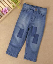 Babyhug Adjustable Waist Jeans With Knee Patch - Blue