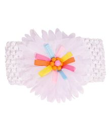 Miss Diva Colourful Ribbon Flower Broad Soft Headband - White