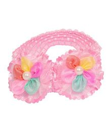 Miss Diva Cute Pearl Studded Double Flower Soft Headband - Light Pink
