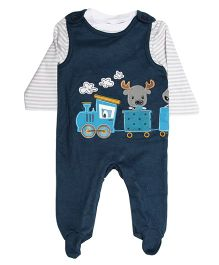 Bella Moda Toy Patch Romper with Inner Tee - Blue