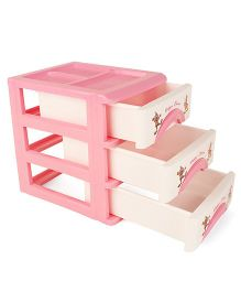 Three Compartment Storage Boxes - Pink White