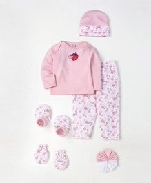 Mee Mee Infant Clothing Gift Set Pack of 7 Strawberry Print - Light Pink & White
