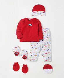 Mee Mee Infant Clothing Gift Set Pack of 7 Car Print - Red & White