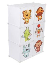 6 Compartment Storage Rack White (Print May Vary)