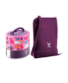 Vaya Insulated Lunch Box With Bag Cat Design Purple - 600 ml