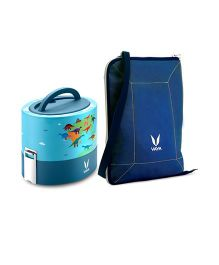 Vaya Insulated Lunch Box With Bag Dino & Maps Design Blue - 600 ml