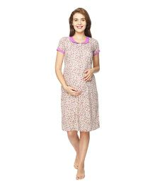Morph Short Sleeves Maternity Nursing Nighty Floral Print - Cream Purple