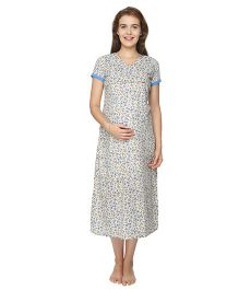 Morph Short Sleeves Maternity Nursing Nighty Floral Print - Off White Blue