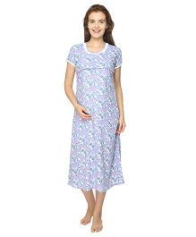 Morph Short Sleeves Maternity Nursing Nighty Floral Print - Purple