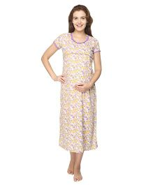 Morph Short Sleeves Maternity Nursing Nighty Floral Print - Yellow