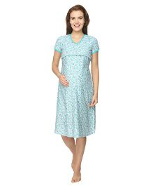 Morph Short Sleeves Maternity Nursing Nighty Floral Print - Sea Green White