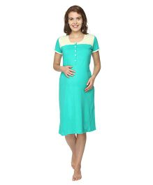 Morph Half Sleeves Nursing Night Gown - Green