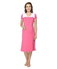 Morph Half Sleeves Nursing Night Gown - Pink
