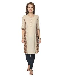 Morph Three Fourth Sleeves Maternity Kalamkari Nursing Kurta - Beige