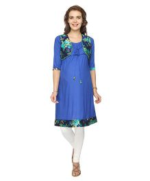 Morph Mock Jacket Nursing Kurta - Modish Blue