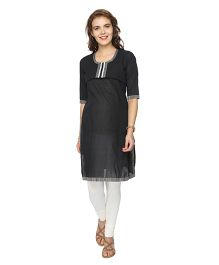 Morph Three Fourth Sleeves Maternity Nursing Kurta - Black