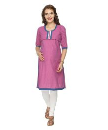 Morph Three Fourth Sleeves Maternity Nursing Kurta - Pink