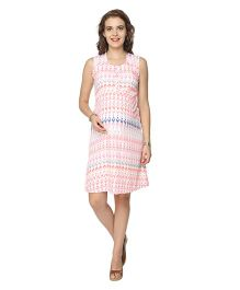 Morph Sleeveless Nursing Dress Ikat Print - Pink & Multicolor