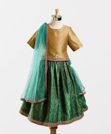 Hugsntugs Top & Printed Lehenga Set - Green & Golden