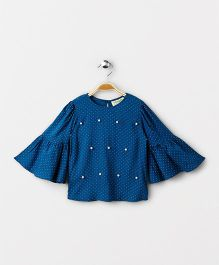 Hugsntugs Dot Print Bell Sleeves Top With Pearls On It - Blue