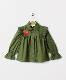 Hugsntugs Full Sleeves Shirt With Rose Patched On It - Green