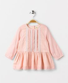 Hugsntugs Full Sleeve Top With Lace In Front - Peach