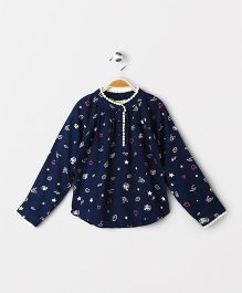 Hugsntugs Fun Printed Top With Pom Pom - Navy