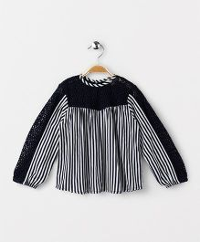 Hugsntugs Stripe Full Sleeve Top With Lace Sleeve & Yoke - Navy & White